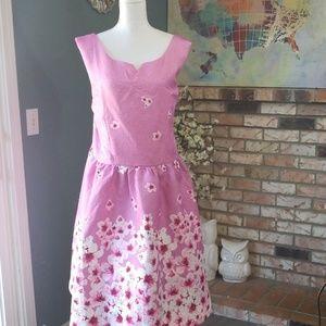 Lindy Bop Pink Floral Sleeveless Sweetheart Dress